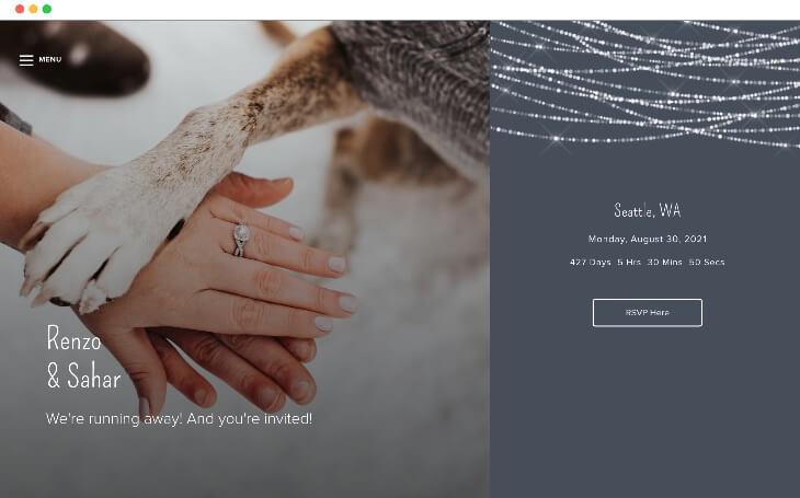 atadas con amor plantillas de sitios web de bodas de invierno