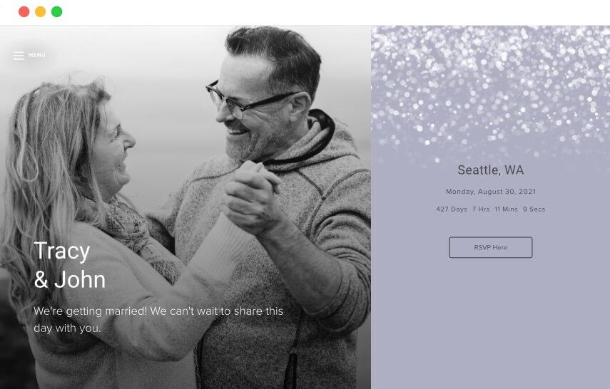 plantillas de sitios web de bodas de invierno de cristal de amanecer