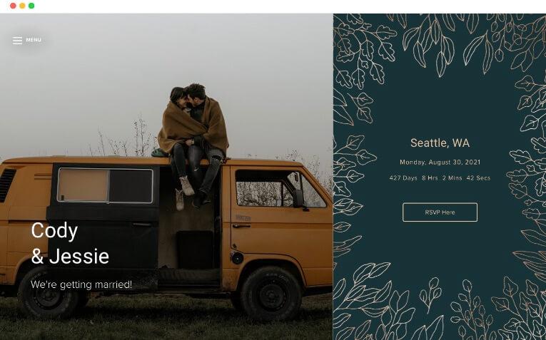 plantillas de sitios web de bodas de invierno con marco de pan de oro