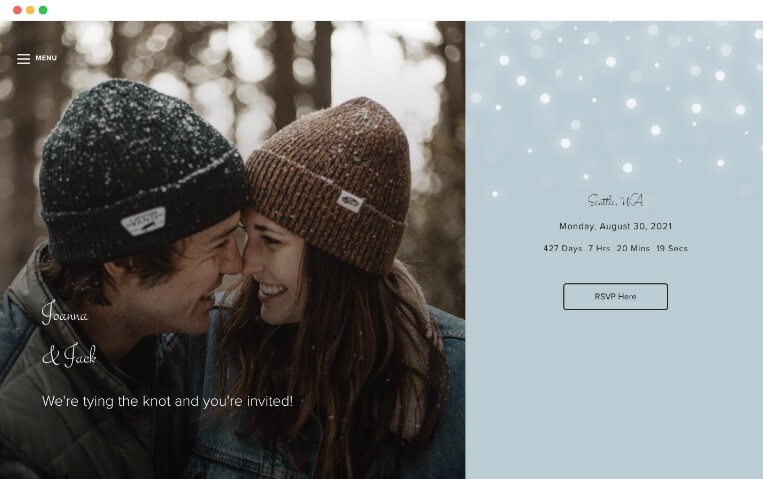 plantillas de sitios web de bodas de invierno nieve ligera