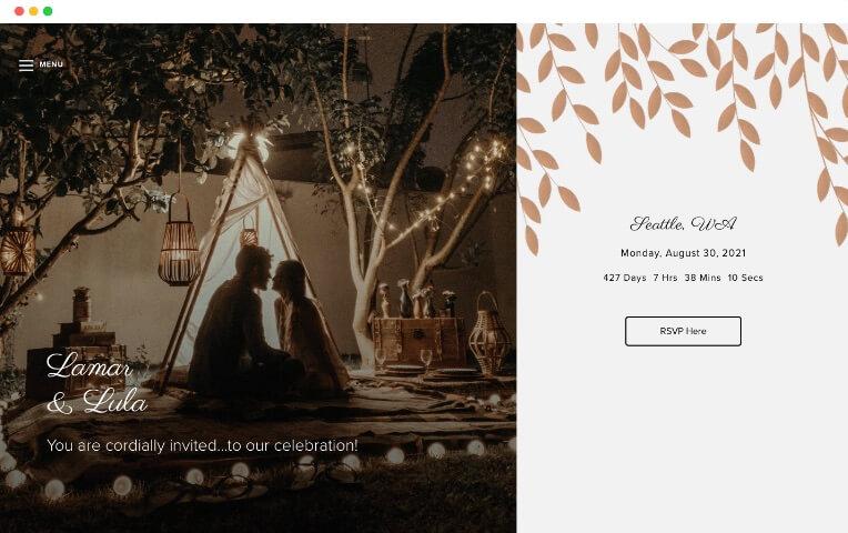 plantillas de sitios web de bodas de invierno hojas bronceadas