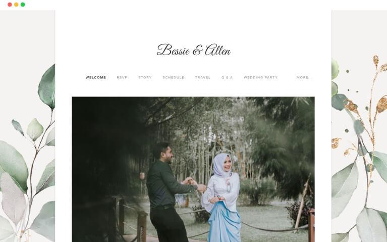 plantillas de sitios web de bodas de invierno bohemio de eucalipto